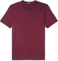 Dolce And Gabbana Cotton Jersey Henley T Shirt Burgundy