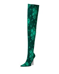 Balenciaga Floral Lace Over The Knee Boot Vert