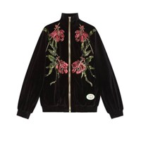 Gucci Chenille Jacket With Floral Patches Black