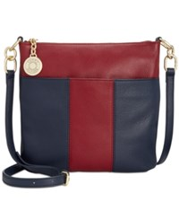 Tommy Hilfiger Th Signature Pebble Leather Crossbody Navy Cabernet