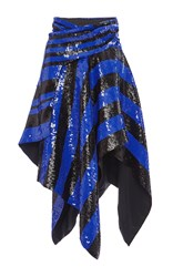 Proenza Schouler Striped Sequin Asymmetrical Wrap Skirt