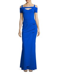 La Petite Robe Di Chiara Boni Cold Shoulder Trumpet Gown Blue