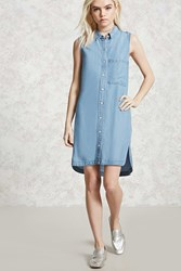 Forever 21 Sleeveless Chambray Shirt Dress Denim Onerror Javascript Fnremovedom 'Colorid_03