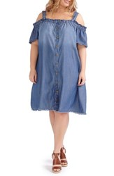 Addition Elle Love And Legend Plus Size Women's Bardot Cold Shoulder Shirtdress Light Wash Denim