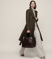 Reiss Halle Wool Blend Double Breasted Coat In Khaki