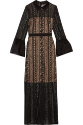 Mikael Aghal Organza Trimmed Lace Gown Black