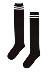 Topshop Sporty Knee High Socks Black