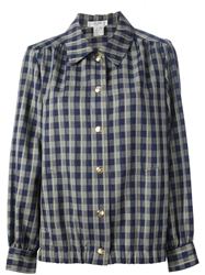 Celine Vintage Checked Jacket Blue