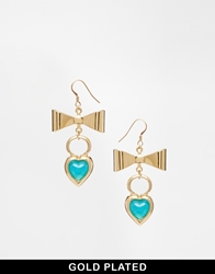 Adele Marie Heart And Bow Earrings Blue