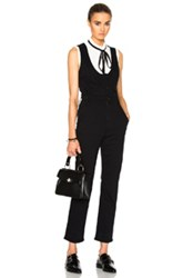 Frame Denim Waist Coat Jumpsuit In Black