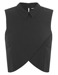 Miss Selfridge Pinstriped Crossover Shell Black