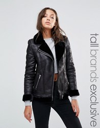 Glamorous Tall Faux Shearling Coat With Zip Detail Black