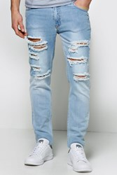 Boohoo Fit Bleached Wash Multi Ripped Jean Pale Blue