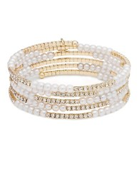 Anne Klein Multi Row Faux Pearl And Crystal Bracelet White