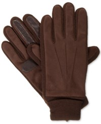 Isotoner Signature Men's Knit Cuff Gloves Brown