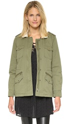 Velvet Sherpa Lined Army Parka Forest