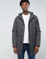 New Look Hooded Trench In Mid Gray Gray