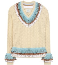 Hillier Bartley Embellished Cashmere And Cotton Sweater Beige