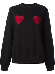 Marc By Marc Jacobs Sequin Heart Patch Sweatshirt Black