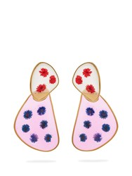 Peter Pilotto Double Face Frosted Glass Flower Earrings Red