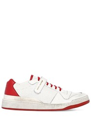 Saint Laurent Travis Perforated Leather Sneakers White Red