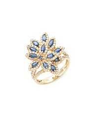 Effy White Diamond Blue Sapphire And 14K Yellow Gold Ring