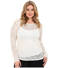 Roper Plus Size 0065 Allover Stretch Lace Long Sleeve Top White Women's Long Sleeve Button Up