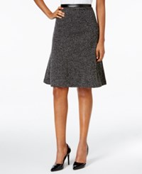 Kasper Stretch Tweed Fit And Flare Skirt Black White
