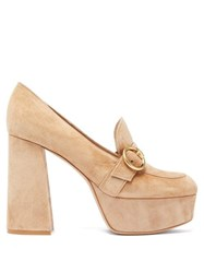 Gianvito Rossi Loafer Style Suede Platform Pumps Beige