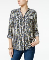 Charter Club Printed Utility Blouse Only At Macy's Intrepid Blue