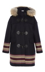 Red Valentino Toggle Coat With Embroidery Navy