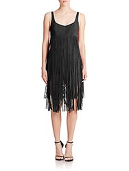 Tamara Mellon Leather Fringe Short Jumpsuit Black