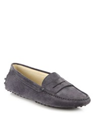 Tod's Gommini Suede Driver Moccasins Pink Grey