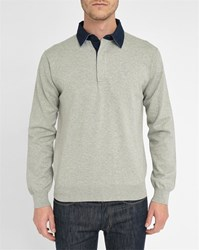 Gant Marled Grey Contrasting Collar Polo Sweater