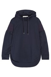 Cedric Charlier Smocked Cotton Jersey Hooded Top Navy