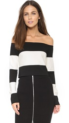 N Nicholas Stripe Off Shoulder Top Off White Black