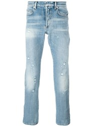 Christian Dior Dior Homme Distressed Jeans Blue