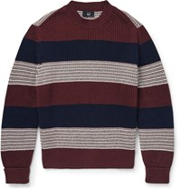 Dunhill Slim Fit Striped Ribbed Cotton Sweater Burgundy