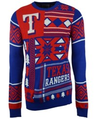 Forever Collectibles Men's Texas Rangers Patches Christmas Sweater Royalblue Red White