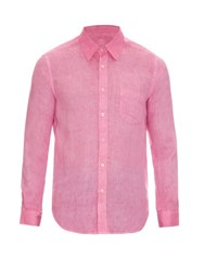 120 Lino Button Cuff Linen Shirt Pink