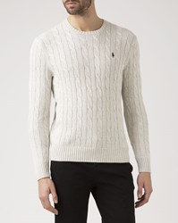 Polo Ralph Lauren Gray Cable Knit Cotton Sweater Grey