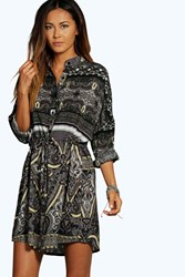Boohoo Woven Paisley Print Shirt Dress Grey