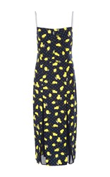Piamita Simone Lemon Printed Silk Dress