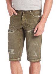 Prps Ripped Pigment Dyed Shorts Army Green