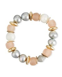 Akola Moonstone And Pink Glass Beaded Bracelet Gray Pink