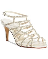 Caparros Harmonica Embellished Caged Evening Sandals Women's Shoes Ivory Sateen