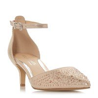 Head Over Heels Caitlin Bling Kitten Heel Court Shoes Rose Gold