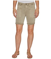 Liverpool Kylie Cargo Shorts With Flat Patch Pockets On Pigment Dyed Slub Stretch Twill In Pure Cashmere Pure Cashmere Women's Shorts Gray