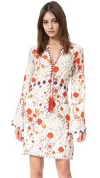 The Kooples Hippy Flower Print Silk Mini Dress Ecru