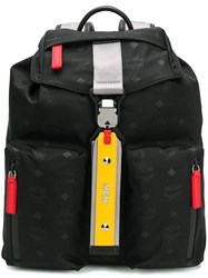 Mcm Monogram Print Backpack Black